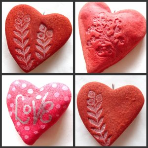 Painted and Craved Heart Shaped Stones Hearts via photopin (license)