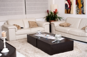 "White Leather Sofa and White Rug with White Decorations Photo by "" photostock""  FreeDigitalPhotos.net"