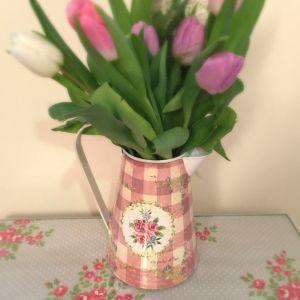 Pink Floral Gingham Metal Jug
