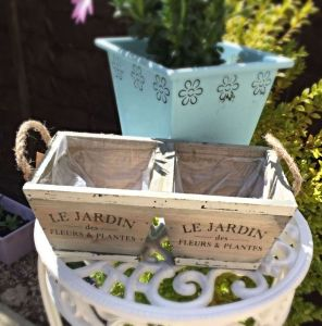 Rustic Wooden Double Planter
