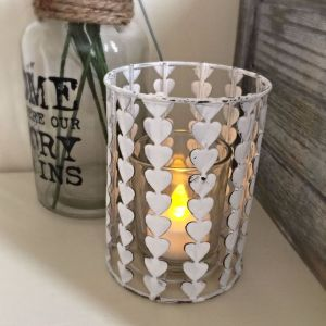 Metal Heart Tea Light Candle Holder with Glass
